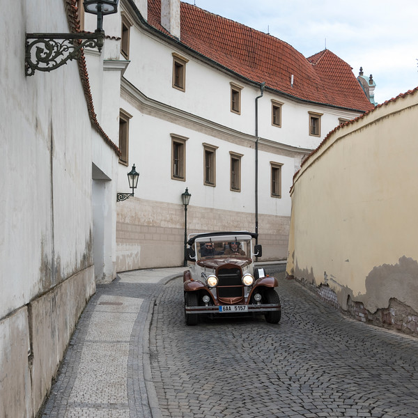 Vintage car on street, Prague, Czech Republic