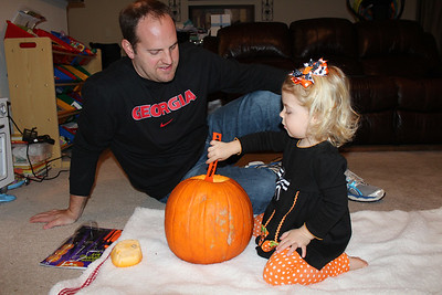 Carving Pumpkins 2014 - Avery 27 Months Old