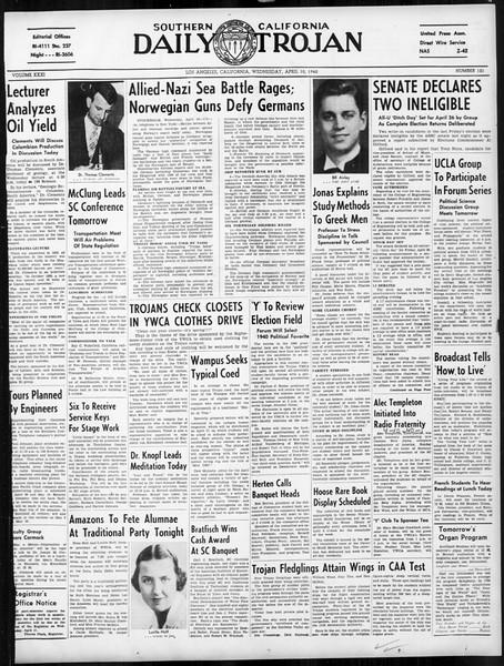 Daily Trojan, Vol. 31, No. 121, April 10, 1940