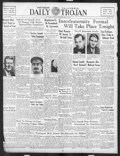 Daily Trojan, Vol. 26, No. 147, May 29, 1935
