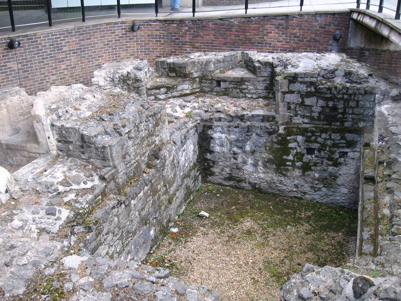 Remains of the old Roman wasll outside the Tower of London