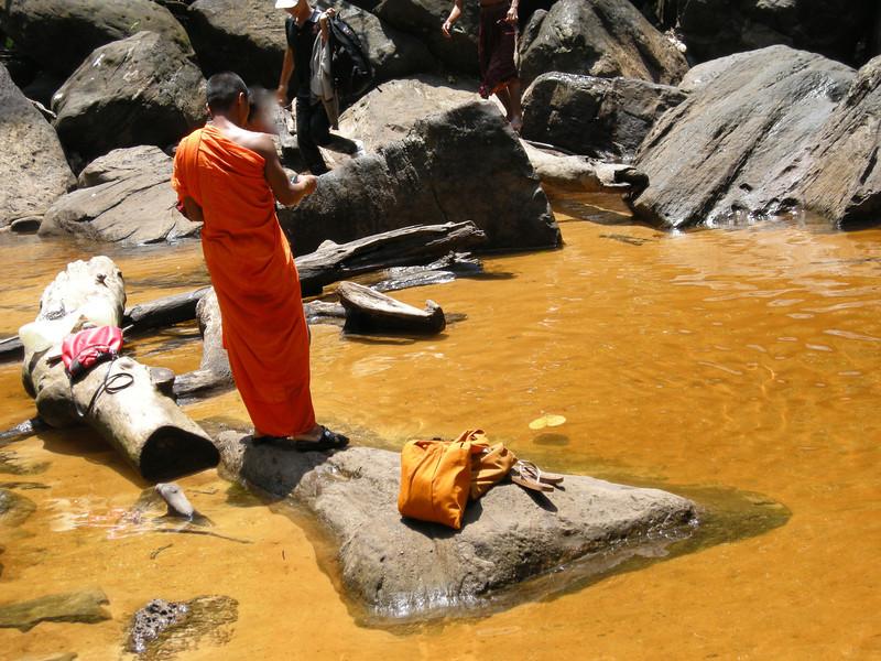 Bathing Monk by the waterfalls, Phnom Kulen National Park: Siem Reap