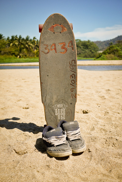 Skateboard and shoes.