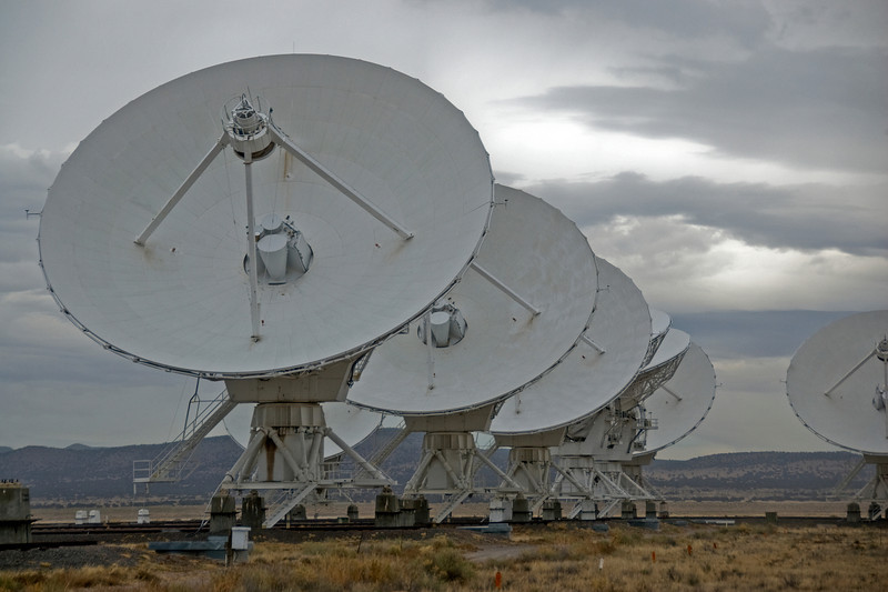 Row of antennas in Very Large Array, New Mexico