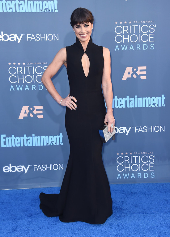 . Constance Zimmer arrives at the 22nd annual Critics\' Choice Awards at the Barker Hangar on Sunday, Dec. 11, 2016, in Santa Monica, Calif. (Photo by Jordan Strauss/Invision/AP)