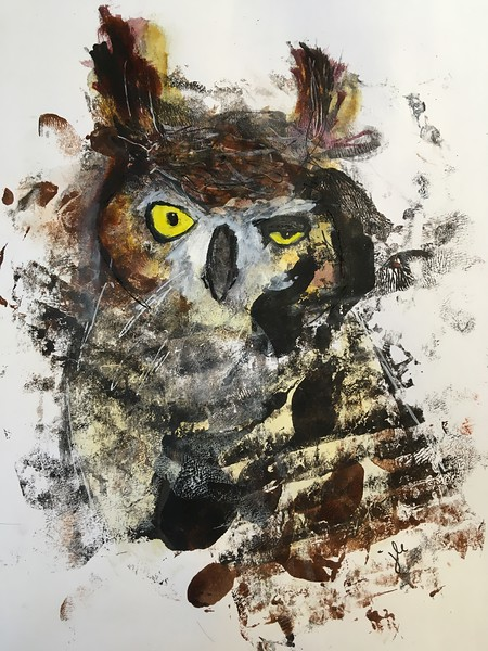 5/19 abstract Great Horned Owl, acrylic, mixed media on paper