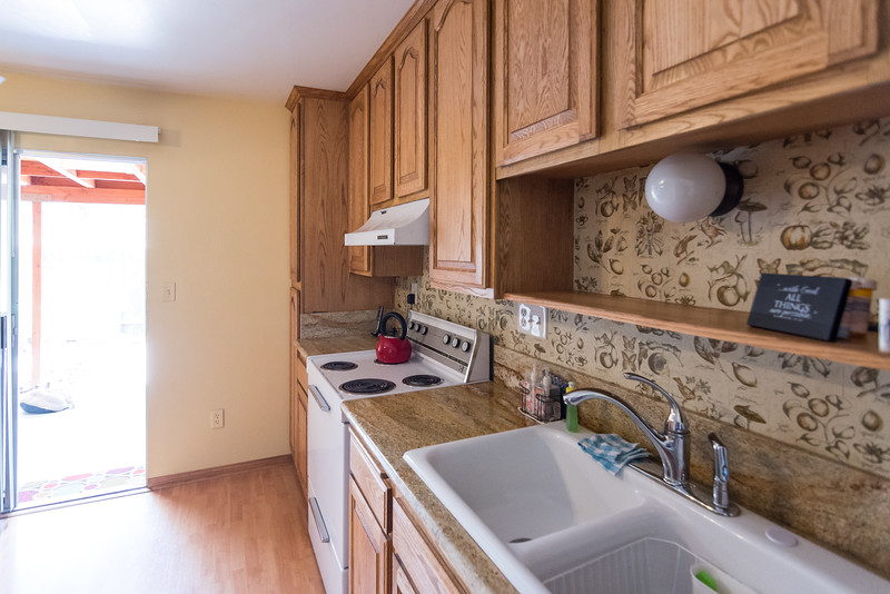 Granite kitchen counters.