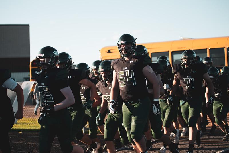 Holy Family Varsity Football vs. Mound Westonka, 8/29/19: Carson Liebeg '20 (54)