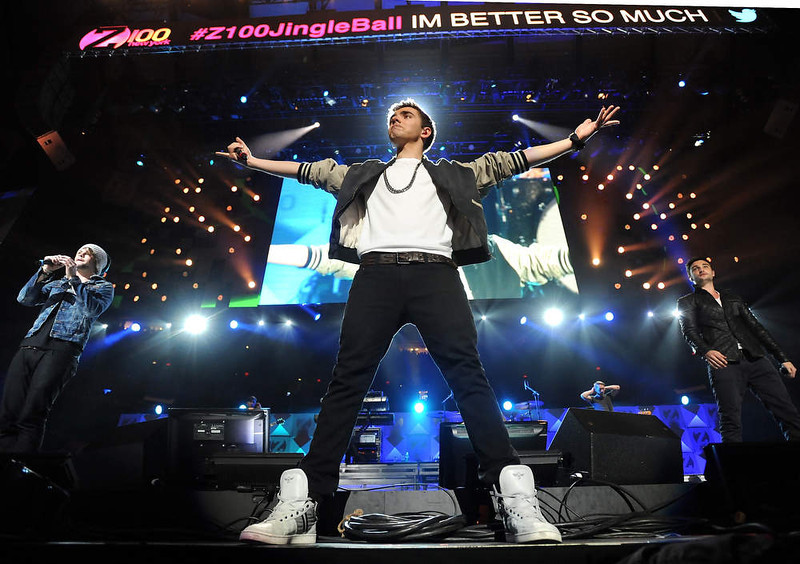 . Singer Nathan Sykes, center, and the rest of the group The Wanted perform at Z100\'s Jingle Ball 2012 presented by Aeropostale at Madison Square Garden on Friday Dec. 7, 2012 in New York. (Photo by Evan Agostini/Invision/AP)
