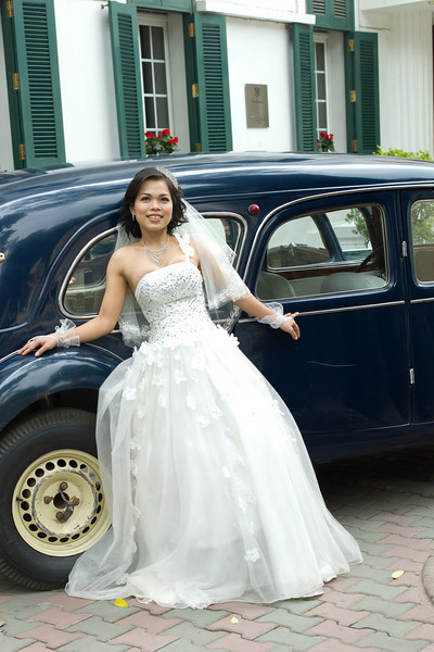 Bride-to-be outside Sofitel Metropole in Hanoi, Vietnam.