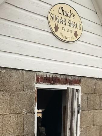 March 19, 2019. Chuck & friends at his Sugar Shack.