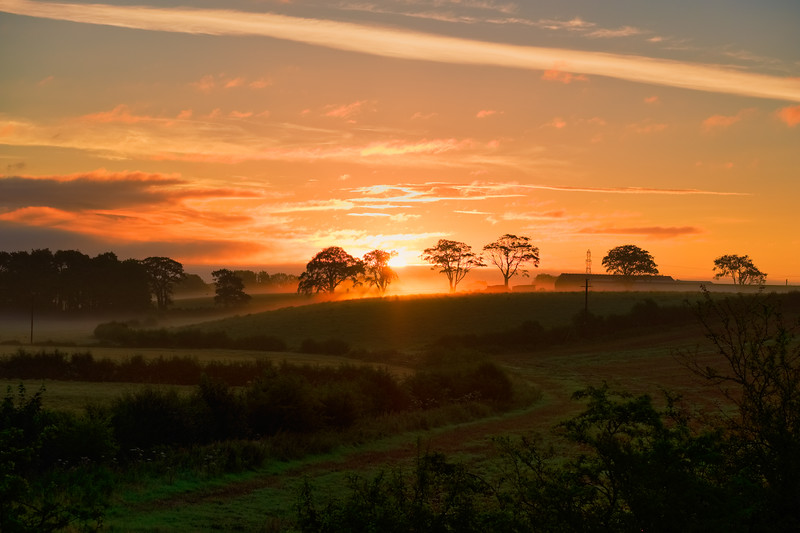 Ayrshire Fields at Perceton Irvine and a Misty Sunrise in Scotland.