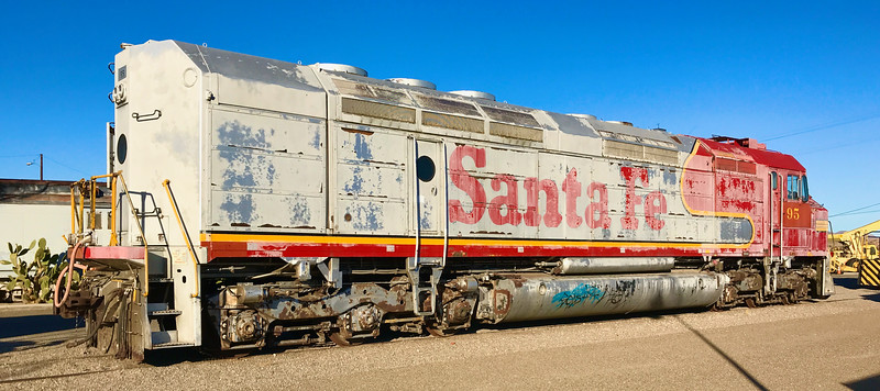 Ancient Santa Fe diesel electric locomotive in Barstow