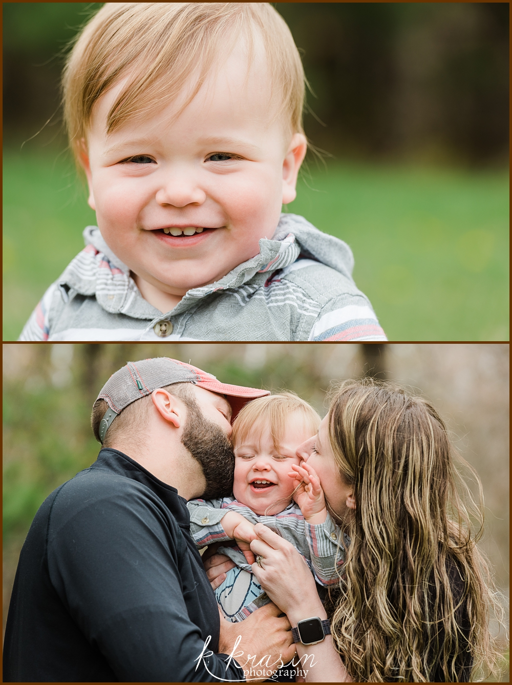Photo collage of one year old boy and boy with parents kissing cheeks