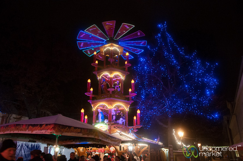 Potsdam Chrsitmas Market and Christmas Pyramid at Night - Berlin, Germany