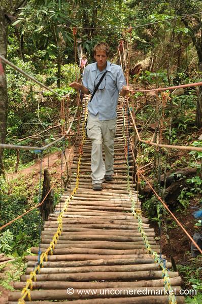 Perquin, El Salvador: Dan Walks the Bridge