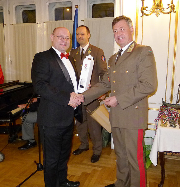 Andy Foulds - award presented by Hungarian General