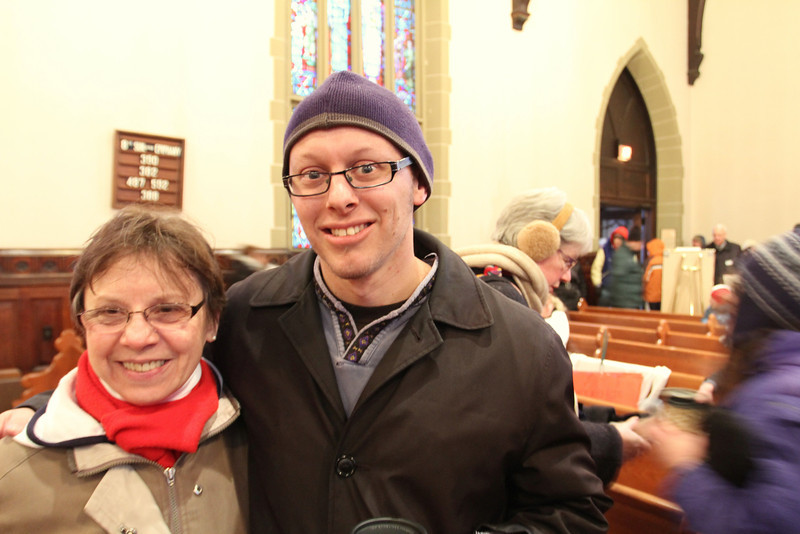 Mike Sweitzer-Beckman, inside Grace Church, with one of his Interfaith friends