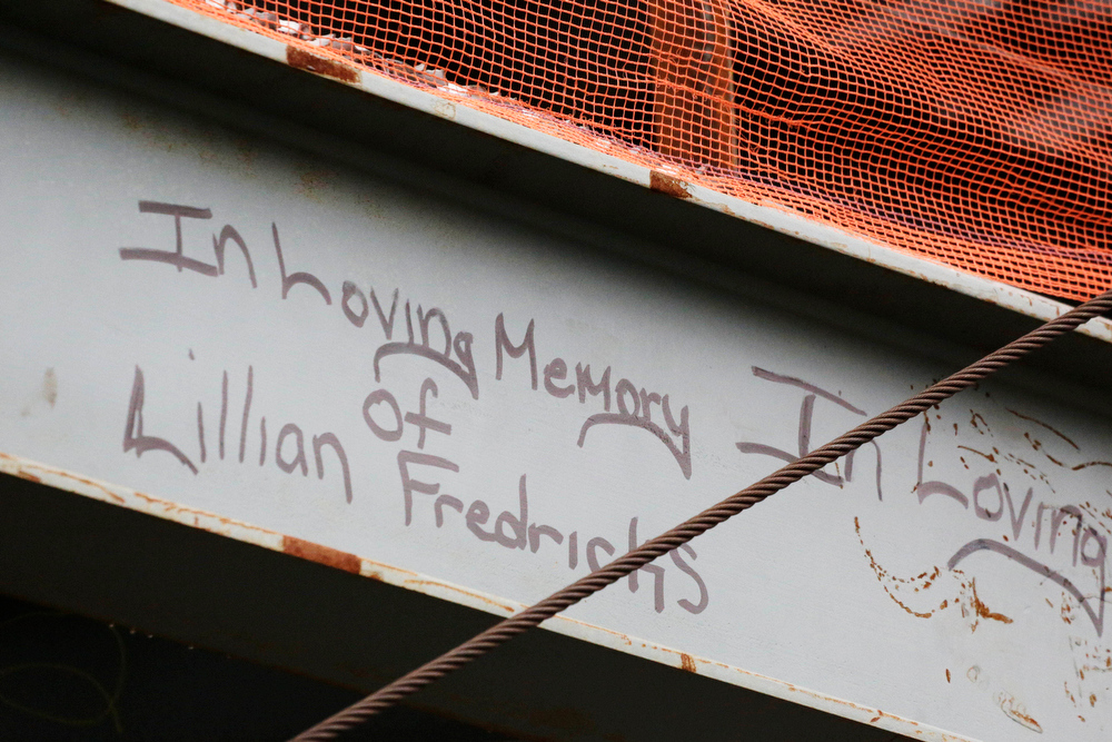 . This Jan. 15, 2013 photo shows a tribute in graffiti to Lilian Fredricks that a construction worker left on a steel column on the 104th floor of One World Trade Center in New York. Fredericks was killed in the 2001 terror attacks. Workers finishing New York\'s tallest building at the World Trade Center are leaving their personal marks on the concrete and steel in the form of graffiti. (AP Photo/Mark Lennihan)