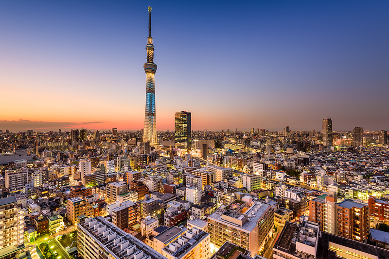 Tokyo Skytree in the evening. Editorial credit: Sean Pavone / Shutterstock.com