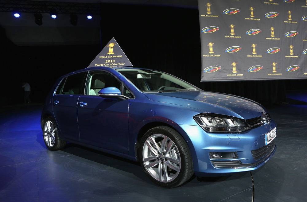 . A Volkswagen Golf is displayed after being named the 2013 World Car of the Year at the New York Auto Show on March 28, 2013 in New York City. It was the second consecutive year that Volkswagen has won the prestigious title.  (Photo by John Moore/Getty Images)