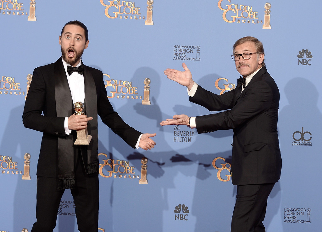 . Actor Jared Leto (L), winner of Best Supporting Actor in a Motion Picture - Drama, Musical or Comedy for \'Dallas Buyers Club,\' and actor Christoph Waltz pose in the press room during the 71st Annual Golden Globe Awards held at The Beverly Hilton Hotel on January 12, 2014 in Beverly Hills, California.  (Photo by Kevin Winter/Getty Images)