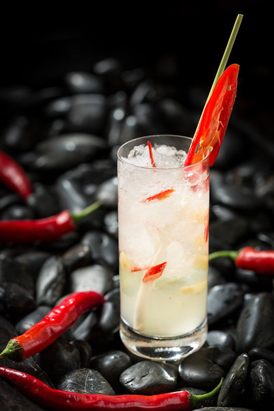 Cocktail with chilis at Saffron Thai restaurant in the Banyon Tree Macau hotel.
