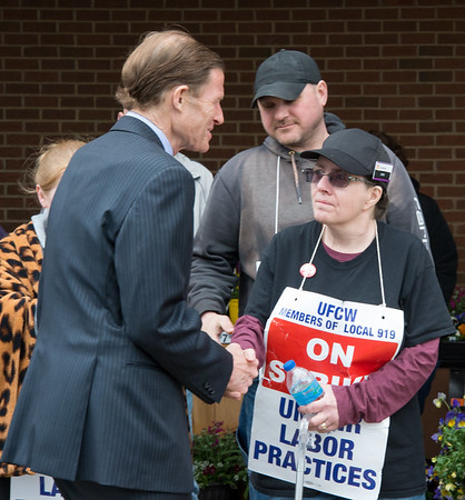 04/15/19 Wesley Bunnell | Staff Senator Richard Blumenthal visited area Stop & Shop Supermarkets on Monday afternoon speaking to striking workers on the importance of not just protecting their jobs but helping to uphold other jobs in the middle class. Senator Blumenthal shakes hands with Ann Cullison during his visit to the Bristol Stop & Shop on Pine St.