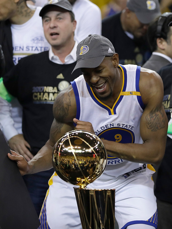 . Golden State Warriors forward Andre Iguodala celebrates after Game 5 of basketball\'s NBA Finals against the Cleveland Cavaliers in Oakland, Calif., Monday, June 12, 2017. The Warriors won 129-120 to win the NBA championship. (AP Photo/Marcio Jose Sanchez)