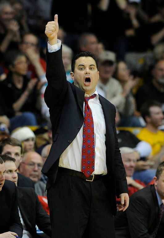 . BOULDER, CO. - FEBRUARY 14: Arizona coach Sean Miller called an offensive set in the second half. The University of Colorado men\'s basketball team defeated Arizona 71-58 Thursday night, February 14, 2013 at the Coors Event Center in Boulder. (Photo By Karl Gehring/The Denver Post)
