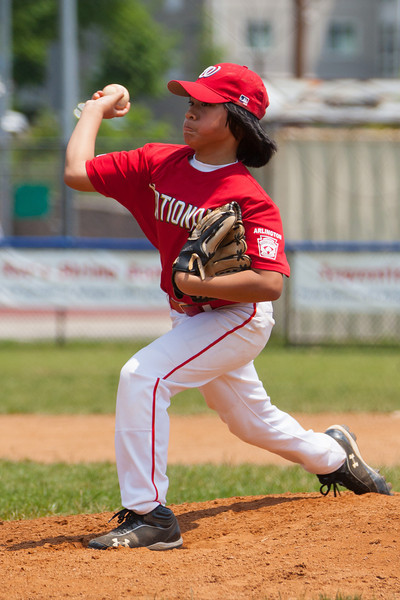 Alex pitching in the bottom of the 2nd inning. The bats of the Nationals were supported by a great defensive outing in a 11-4 win over the Twins. They are now 7-3 for the season. 2012 Arlington Little League Baseball, Majors Division. Nationals vs Twins (13 May 2012) (Image taken by Patrick R. Kane on 13 May 2012 with Canon EOS-1D Mark III at ISO 400, f4.0, 1/2500 sec and 185mm)