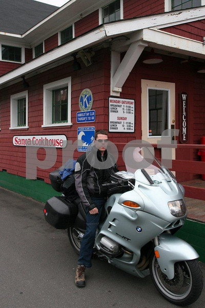 BMW rider in front of the Samoa Cookhouse in Arcata, CA