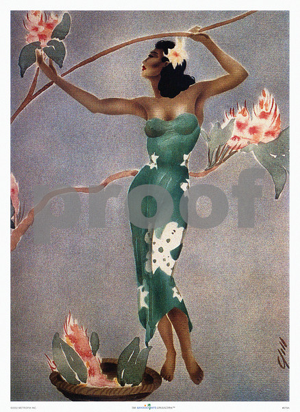 079: 'Wahine in Green Dress,' by Gill Vintage Hawaiian Style Airbrush Painting -- ca 1945, depicting a Hawaiian island 'wahine' in fashionable Western green dress reaching for flowers on a branch, painted with Gill's inimitable airbrush technique involving cutout stencils in order to serialize production of such art in his San Francisco workshop. PROOF watermark will not appear on your print.