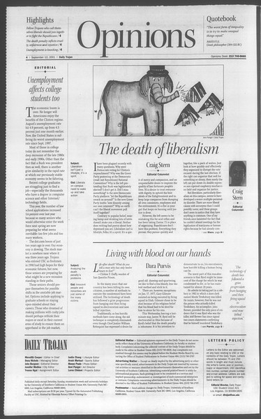 Daily Trojan, Vol. 144, No. 8, September 10, 2001