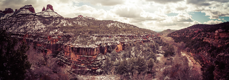 Snow Covered Sednoa Arizona Canyon with Red Rocks Panorama