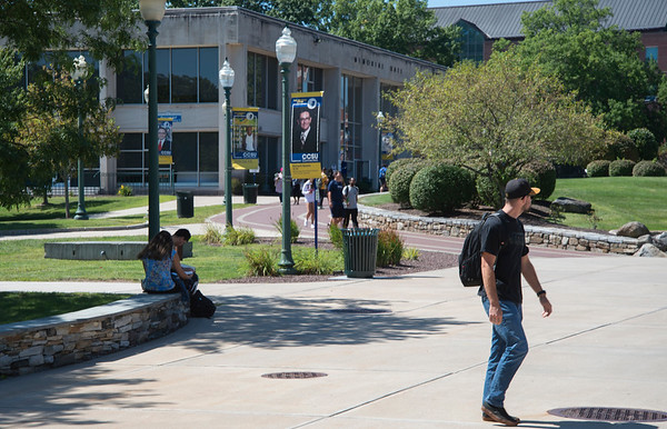 08/29/19 Wesley Bunnell | Staff CCSU students walk through campus on August 29, 2019.