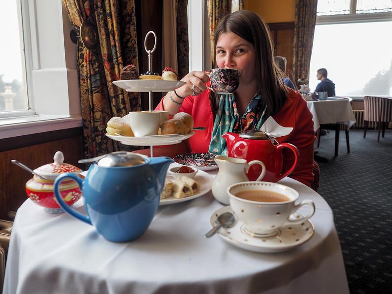 Amanda at Chateau Tongariro afternoon tea