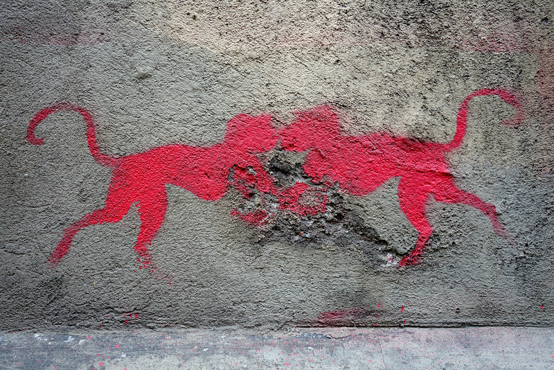 kissing monkeys -Poznan, Poland