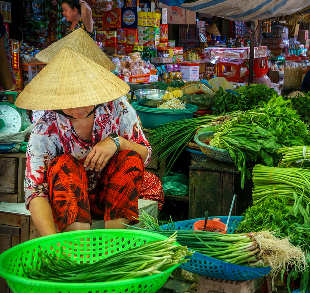 Colorful life scene at the market of Vinh Long.