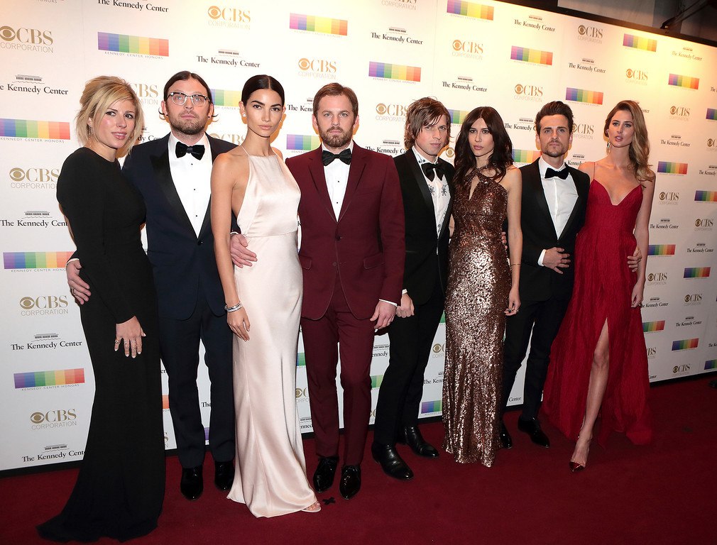 . Jessie Baylin, from left, Nathan Followill, Lily Aldridge, Caleb Followill, Matthew Followill, Johanna Bennett, Jared Followill and Martha Patterso attend the 39th Annual Kennedy Center Honors at The John F. Kennedy Center for the Performing Arts on Sunday, Dec. 4, 2016, in Washington, D.C. (Photo by Owen Sweeney/Invision/AP)