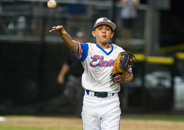 08/09/19 Wesley Bunnell | Staff New Jersey defeated Washington, DC on Friday August 9, 2019 in a Little League Baseball Eastern Regional Tournament game with New Jersey heading to the final on Saturday to face New York. Pitcher L.J. Aponte (11) throws to first base for the final out of the game.