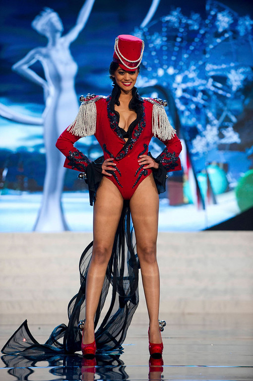 . Miss Switzerland Alina Buchschacher performs onstage at the 2012 Miss Universe National Costume Show at PH Live in Las Vegas, Nevada December 14, 2012. The 89 Miss Universe Contestants will compete for the Diamond Nexus Crown on December 19, 2012. REUTERS/Darren Decker/Miss Universe Organization/Handout