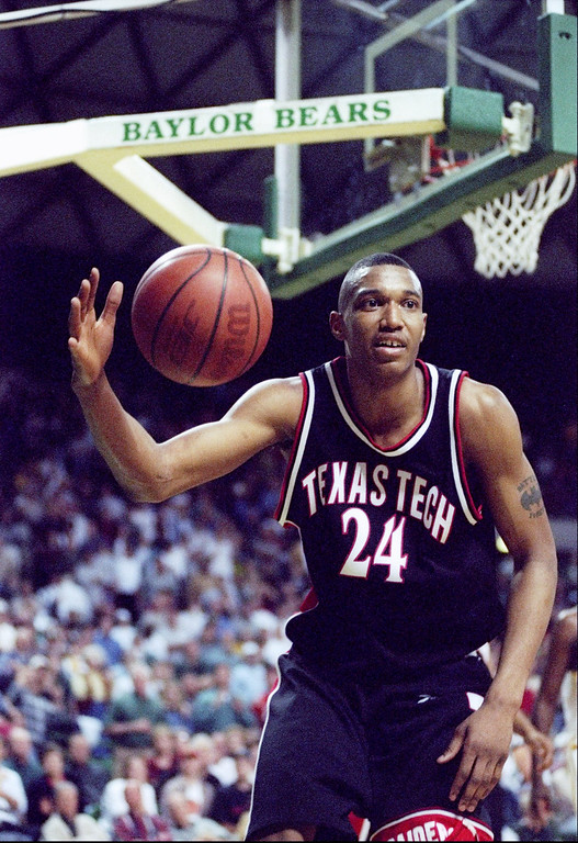 . 1997: Tony Battie (No. 5) Center Tony Battie of the Texas Tech Red Raiders moves the ball during a game against the Baylor Bears at the Ferrell Center in Waco, Texas February 15, 1997.  Baylor won the game in overtime, 77-76. Mandatory Credit: Stephen Dunn  /Allsport
