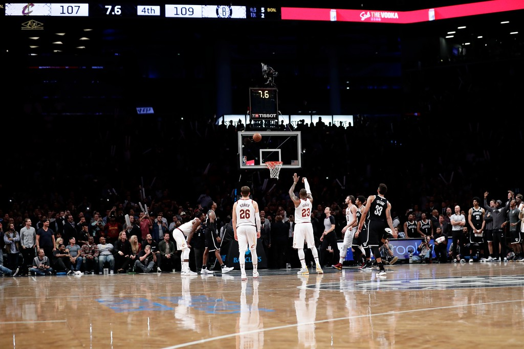 . Cleveland Cavaliers\' LeBron James (23) misses a free throw during the second half of an NBA basketball game Wednesday, Oct. 25, 2017, in New York. The Nets won 112-107. (AP Photo/Frank Franklin II)