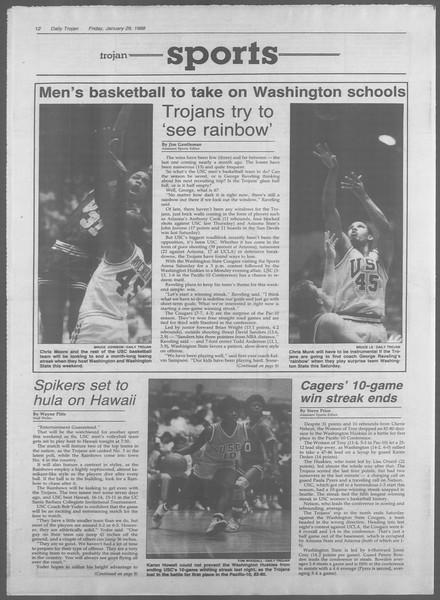 Daily Trojan, Vol. 106, No. 14, January 29, 1988