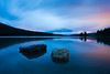 """""""Serenity III"""". Mother Nature provides a dramatic evening display at Two Jack Lake, Banff National Park."""