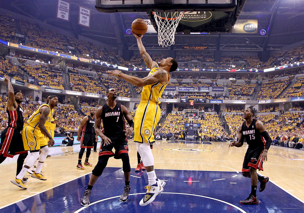 . INDIANAPOLIS, IN - MAY 20: George Hill #3 of the Indiana Pacers goes up for a basket against the Miami Heat during Game Two of the Eastern Conference Finals of the 2014 NBA Playoffs at at Bankers Life Fieldhouse on May 20, 2014 in Indianapolis, Indiana.   (Photo by Andy Lyons/Getty Images)