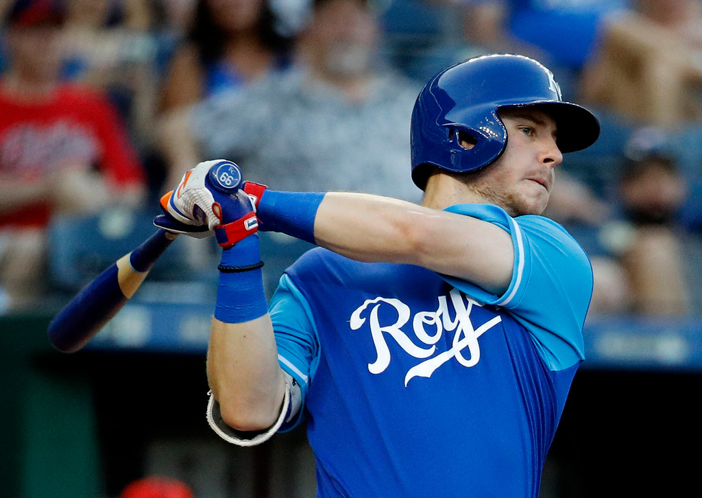 . Kansas City Royals\' Ryan O\'Hearn watches his two-run double during the fourth inning of a baseball game against the Cleveland Indians on Saturday, Aug. 25, 2018, in Kansas City, Mo. (AP Photo/Charlie Riedel)