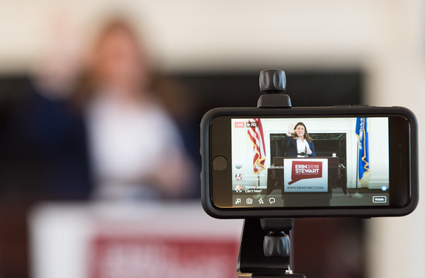 03/19/18 Wesley Bunnell   Staff New Britain Mayor Erin Stewart waves to her Facebook Live audience at CCSU's Founders Hall on Monday at noon to as she officially announces her candidacy for CT Governor for the 2018 election.