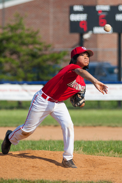 Alex pitching in the top of the 6th inning. The Nationals struggled on both offense and defense in a 2-11 loss to the Orioles. They are now 7-4 for the season. 2012 Arlington Little League Baseball, Majors Division. Nationals vs Orioles (19 May 2012) (Image taken by Patrick R. Kane on 19 May 2012 with Canon EOS-1D Mark III at ISO 400, f4.0, 1/3200 sec and 200mm)